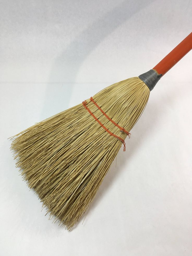 Vintage Childs Childrens Broom Rustic Orange Handle Orange Stitching Straw Broom Farmhouse Decor Photography Prop by BestThingSince on Etsy