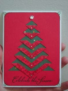 Creative christmas greeting card   Simple christmas card idea   Hand made greeting card for chritmas   make your own christmas gift cards   Cutting gift Paper to Christmas tree shape   christmas tree Gift card out of triangles   business christmas tree cards   simple and easy christmas tree card design