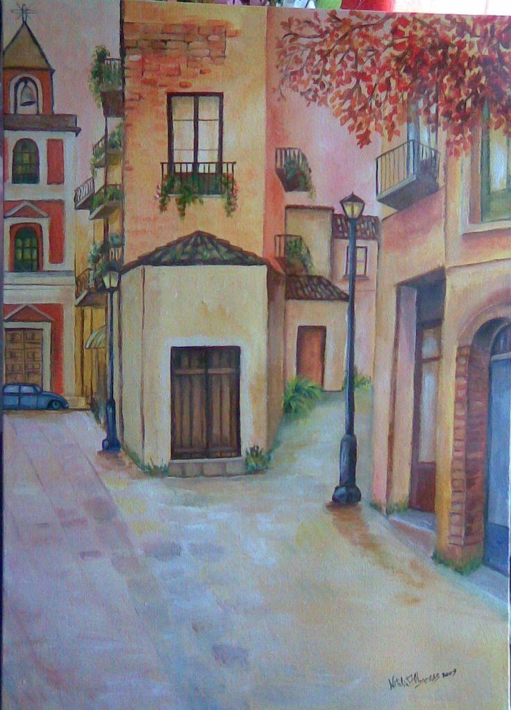 scorcio d'autunno acrilico su tela 50 x 70 2009  autore Natalia Albanese
