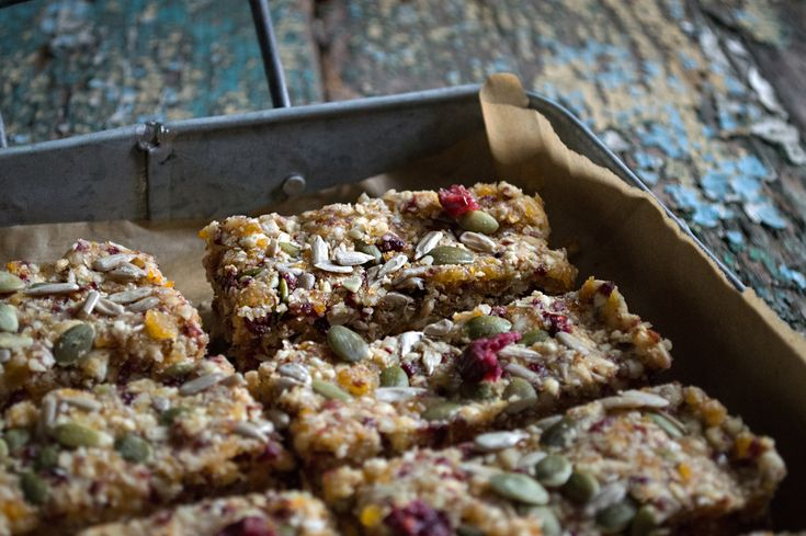 Quinoa, fruit & nut bars----would have to sub almonds with pecans or other nut