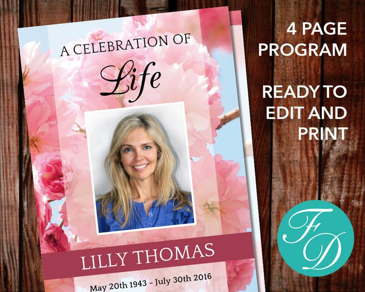 51 Best Pink Funeral Program Templates Images On Pinterest Funeral