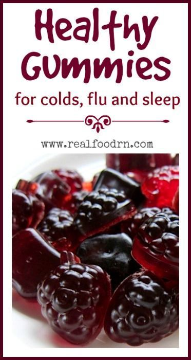 Healthy Gummies for Cold, Flu and Sleep. These tasty little treats help your little one fight colds and the flu all while also helping them to get more restful sleep. They are also full of antioxidants and healthy protein!  realfoodrn.com