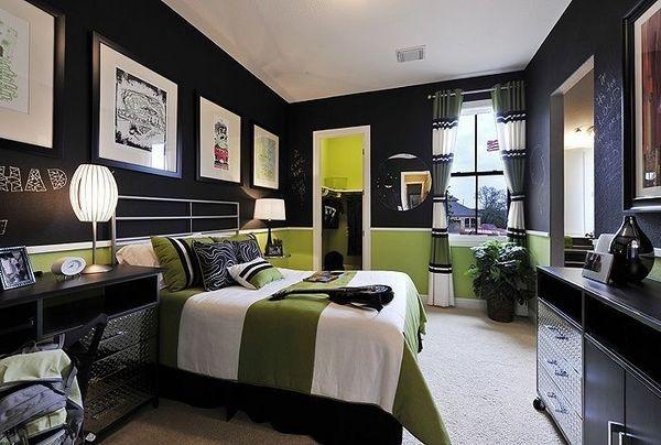 teen boy bedroom ideas black green colors chalkboard walls