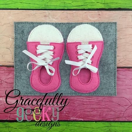 6 I Can Tie My Shoes Embroidery Design  5x7 Hoop Or