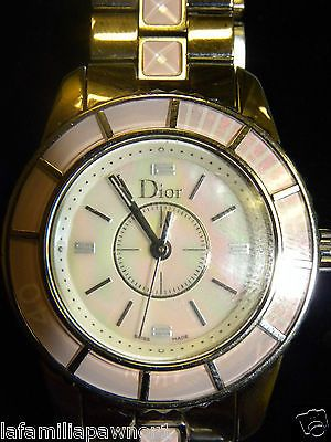 Christian Dior 28mm, Mother Of Pearl , Pink Sapphire Crystals Watch (or47926) - http://designerjewelrygalleria.com/christian-dior/christian-dior-28mm-mother-of-pearl-pink-sapphire-crystals-watch-or47926/