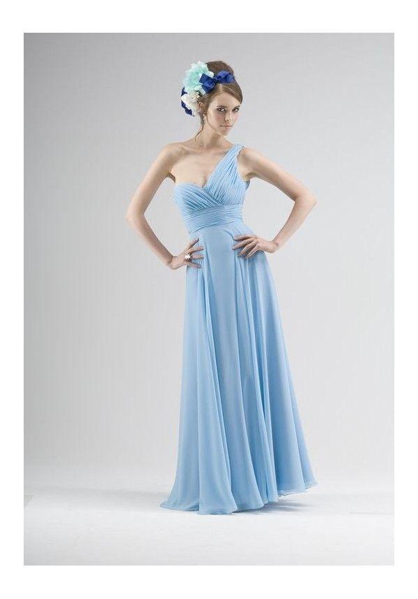 [$89.00] Chiffon One-Shoulder Sweetheart Empire Long #Bridesmaid Dress #blue