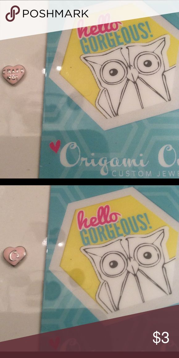 """Authentic Origami Owl Charm This is an authentic Origami Owl pink candy heart charm with """"CRAZY 4U"""". This listing can be combined with other charms or any of my other listings to receive a discount!! Origami Owl Jewelry"""