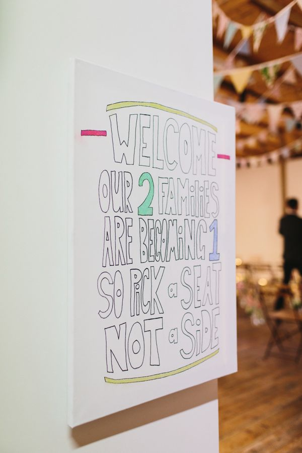 hand lettered welcome // photos by Erin + Tara Photography