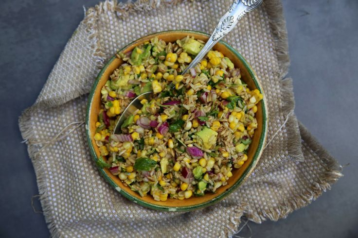 petite kitchen: BARLEY, SWEETCORN & AVOCADO SALAD TOSSED WITH CHILLI LIME DRESSING