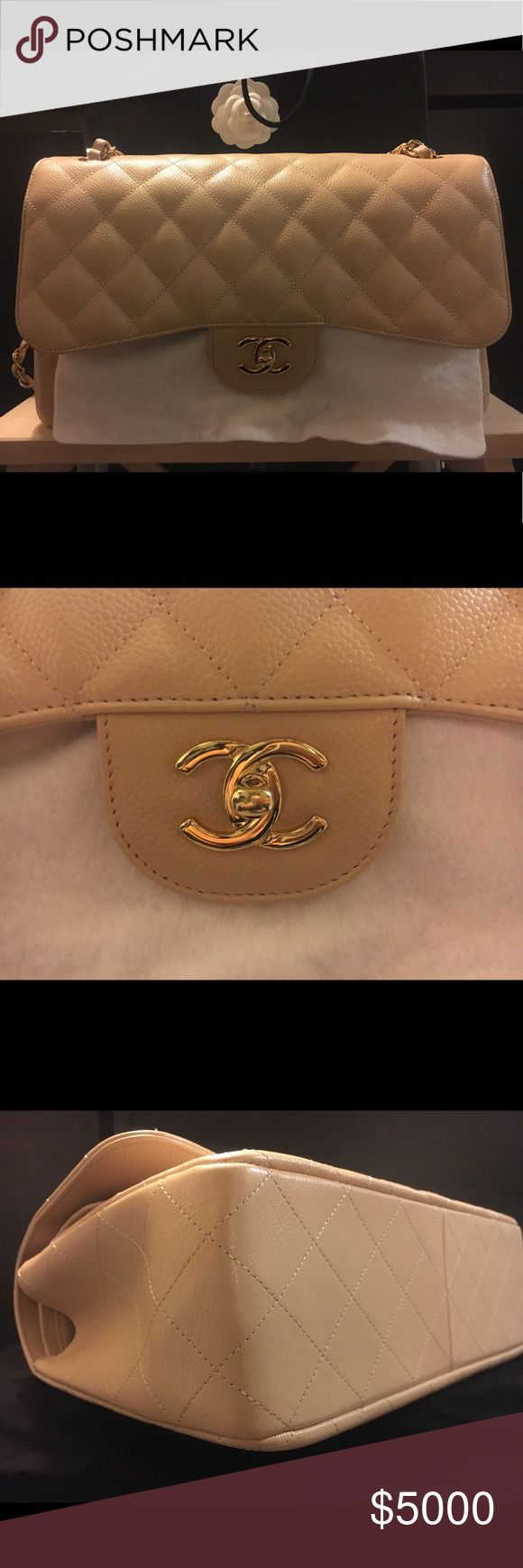 Chanel Classic Caviar Beige Gold Hardware Authentic Chanel Classic Jumbo Double Flap Caviar Beige color leather Gold Hardware and leather handles Comes with dust bag, authenticity card, Chanel original bag CHANEL Bags Shoulder Bags