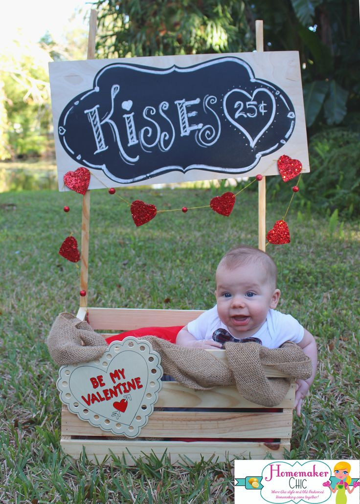 Valentines day kissing booth photo prop tutorial, baby photo shoot, 3 month pictures, kisses