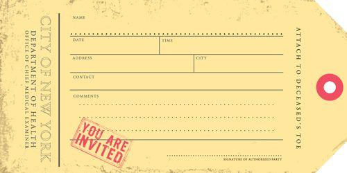 toe tag invitation printable