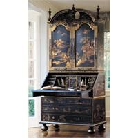 A Touch Of Black Chinoiserie An Oriental Hand Painted Drop Front Secretary Desk