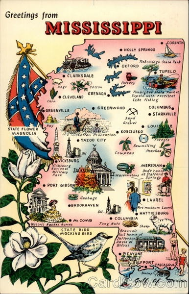 """Mississippi motto/nickname: """"By Valor and Arms""""   """"Magnolia State"""""""
