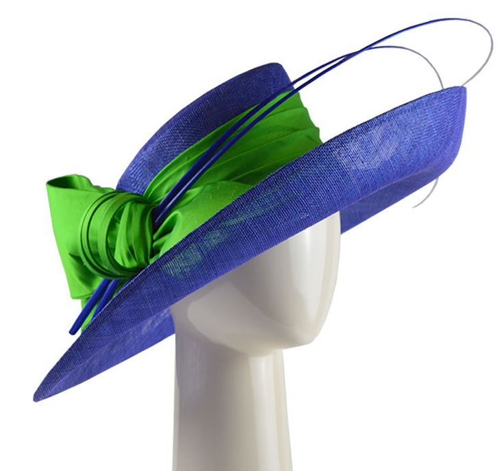 Up Brim Hat with Silk Bow - Royal and Lime