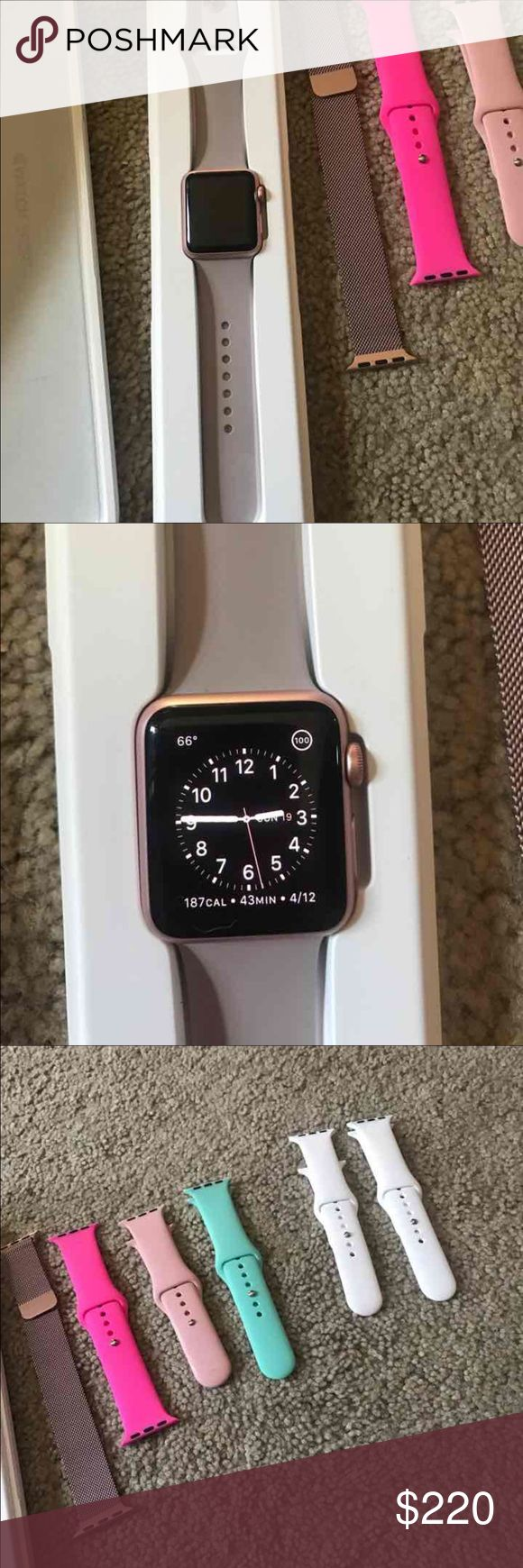 Series 0 Rosegold Apple Watch Used rose gold Apple Watch series 0. The watch is 38mm. Small scratches on top left part of the screen (I cannot get a picture of it) but you can see them in different angles when wearing the watch. Comes with the original box, charging cable, original small AND large band, and after market bands that are size small. The watch is erased, unpaired and completely functioning! Apple Accessories Watches