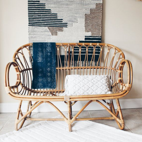 Franco Albini Style Rattan Settee Rattan by VintageandSwoon