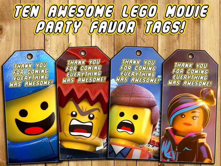 The Lego Movie Birthday Party Favor Tags (Loot Bag Tags) - Download and Print - Thank You Tag by InstaBirthday on Etsy https://www.etsy.com/listing/232712033/the-lego-movie-birthday-party-favor-tags