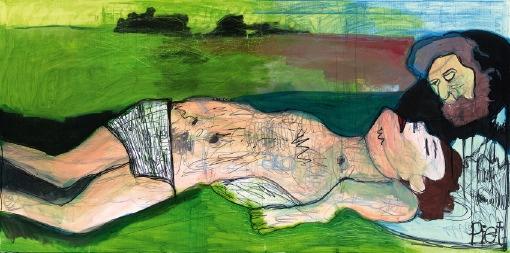 Kunstwerk van Piet Schopping gemaakt voor de tentoonstelling 'Wonder boven Wonder' in het Bijbels museum in Amsterdam.