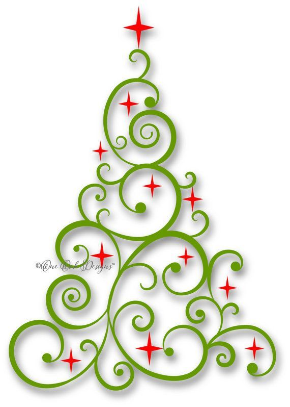 Swirly Tree SVG File PDF / dxf / jpg / png / eps / ai / Christmas Tree SVG File…