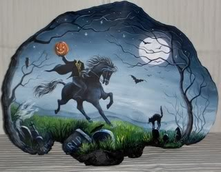 Art - The Headless Horseman On Tree Fungus. What a unique medium to paint something on.