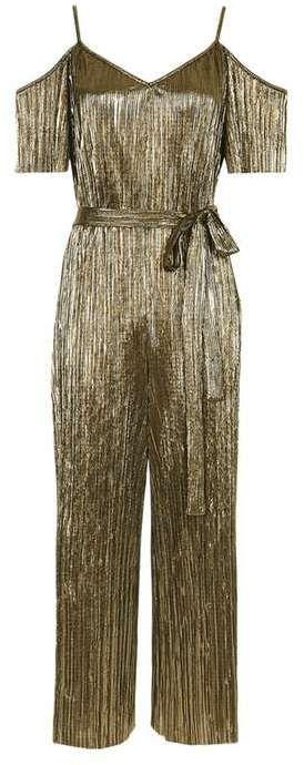 Petite belted plisse jumpsuit