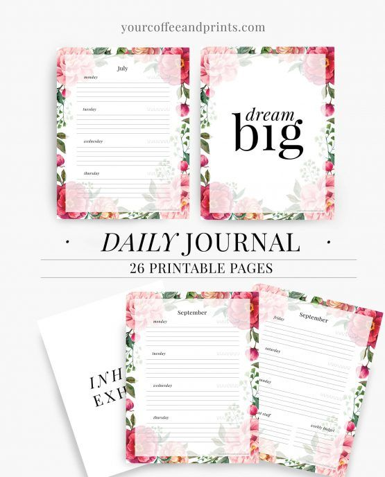 """DAILY JOURNAL DAILY PLANNER TEMPLATE PRINTABLE PDF Welcome to the shopYourCoffeeAndPrints.comWe are Your Coffee and Prints – three young, funny, creative and strong-willing people that produce an inspiring, stylish and affordable collection ofprintable planner kits, worksheets, templates and quotes. First of all we design printable planners that help you manage your days and most of all help create a lifestyle of your choice."""" printable planner templates,weekly, monthly and daily…"""