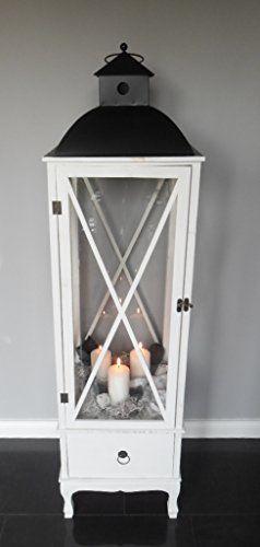 xxl holz laterne mit schublade windlicht metalldach wei 140 cm landhaus shabby chic. Black Bedroom Furniture Sets. Home Design Ideas