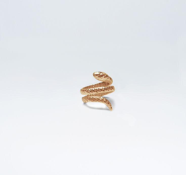 Anel Cobra Mindinho 1 Volta Prata com Banho de Ouro +info: joias.she@gmail.com