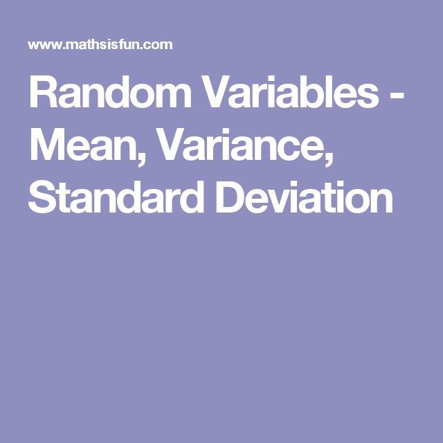 Random Variables Mean Variance Standard Deviation Math Gt