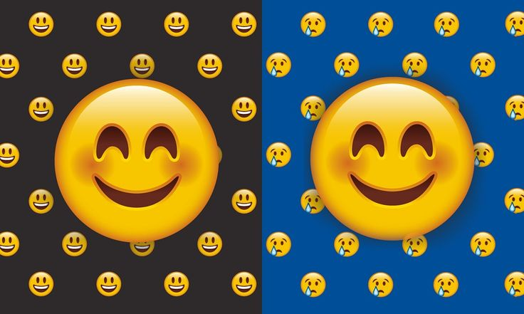 two happy emoticon faces, one surrounded by other happy faces, the other by sad faces