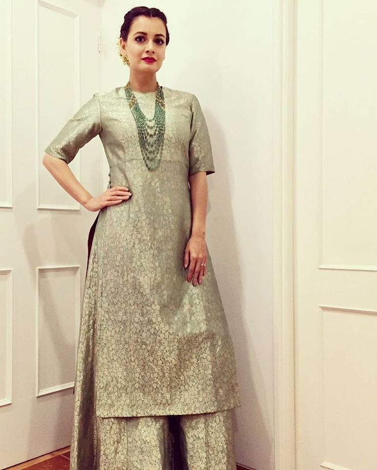 Dia Mirza in a benarasi brocade suit by Sanjay Garg for Raw Mango #bollywoodcelebs #bollywoodclothes #indianfashion #inspiration #diamirza #sanjaygarg #rawmango