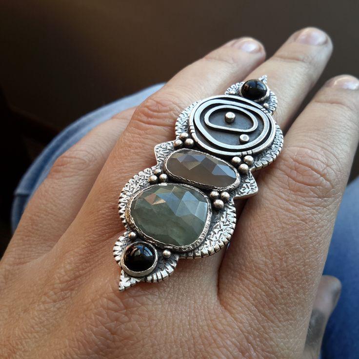 Aqua Marine, Moonstone and Onyx. African inspired evil eye (protection eye) shield ring. Magical bohemian.