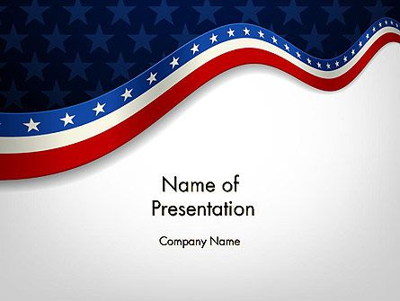 Very stylish, elegant and restrained PowerPoint template in the US national colors in form of banner for July 4th American Independence day. Actually, with help of it you can create brilliant presentations for any of American national holidays: for Flag Day, Veterans Day, Memorial day. This template will great decorate your presentation.