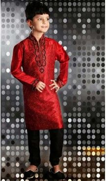 Aesthetic Red Kids Boys Wear Kurta Pyjama