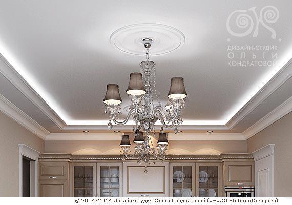 Дизайн подвесного потолка в гостиной on Дизайн интерьера квартир, фото 2015-2016 | Дизайн-студия Ольги Кондратовой  http://www.ok-interiordesign.ru/wordpress/wp-content/gallery/design-podvesnyh-potolkov/kitchen-livingrom-chandelie.jpg