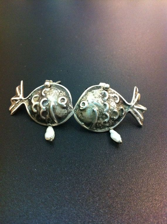 Funny Puffy  Fish Stud Earrings handmade by ArchipelagosBreeze, €42.00