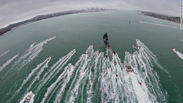 PUMA Oceanracing is followed by spectator boats during leg four of the Volvo Ocean Race on March 10 in Auckland, New Zealand.