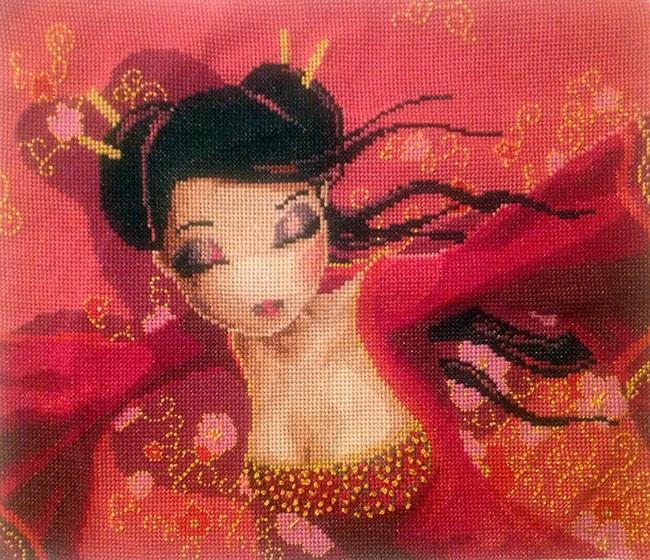 Brise Rose brodée par Alexia. Cette version est brodée en fils #DMC et non en #Aurifil comme le modèle original ;)