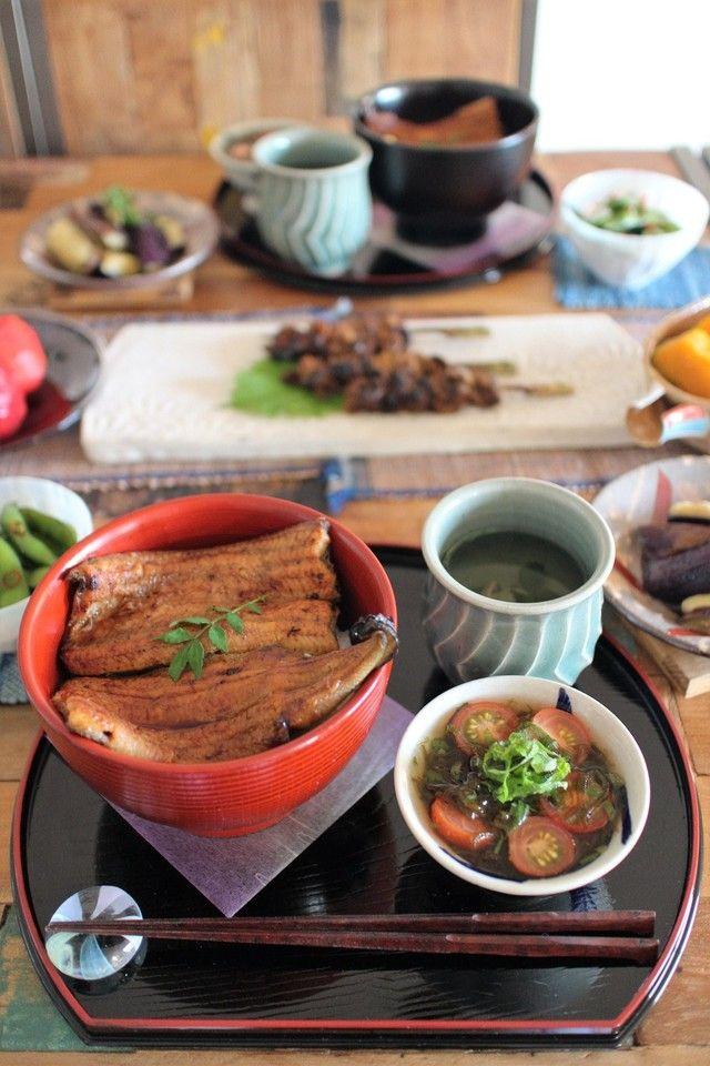 土用の丑の日はやっぱりうなぎでしょ♪ | 鰻の蒲焼き、かぼちゃの煮物、トマトもずく酢、茄子のナムル、枝豆