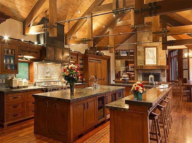 Kitchen at Modern Luxury Ranch Style Home Design