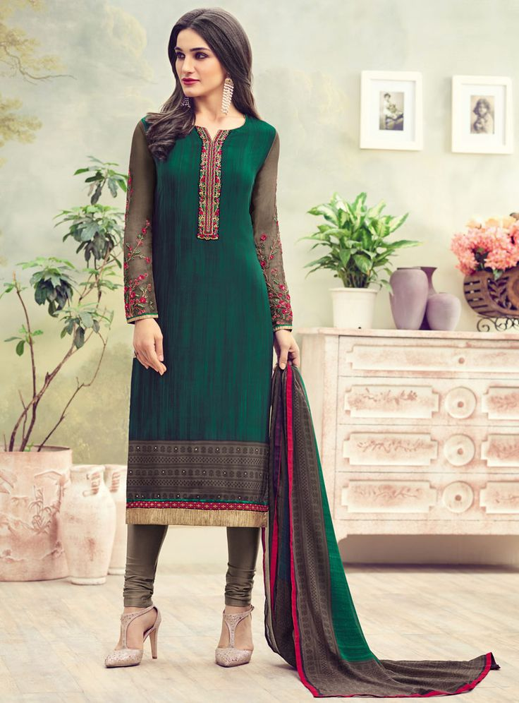 Green Crepe Churidar Salwar Suit 89959