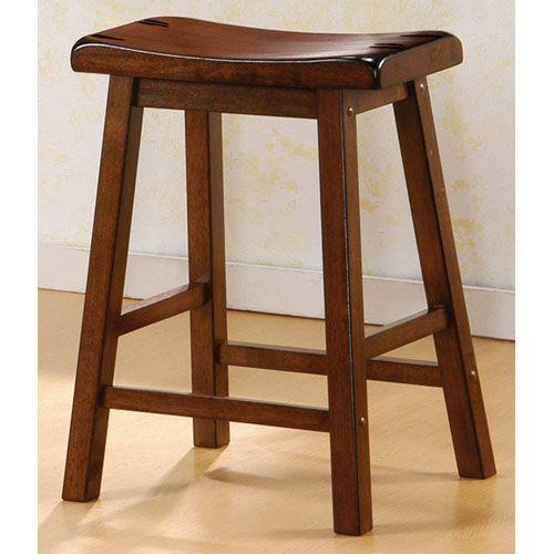 Coaster Furniture 180069 24 Inch Walnut Wooden Bar Stool Set Of 2
