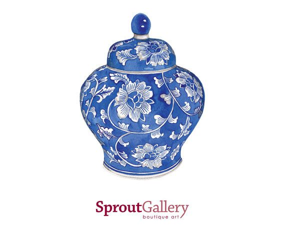 LARGE - Blue and white Ming china vase with flower print An Art Print of my original watercolour painting.  Printed with archival inks on