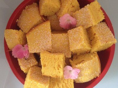 Lebanese sfouf, turmeric and anise-scented cake.