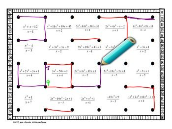 Algebra 2 PreCalculus Dots and Boxes Fun Game for Syntheti