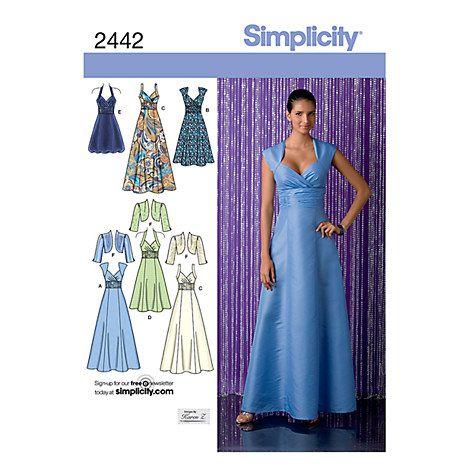 Buy Simplicity Special Occasion Dresses Dressmaking Leaflet, 2442 Online at johnlewis.com