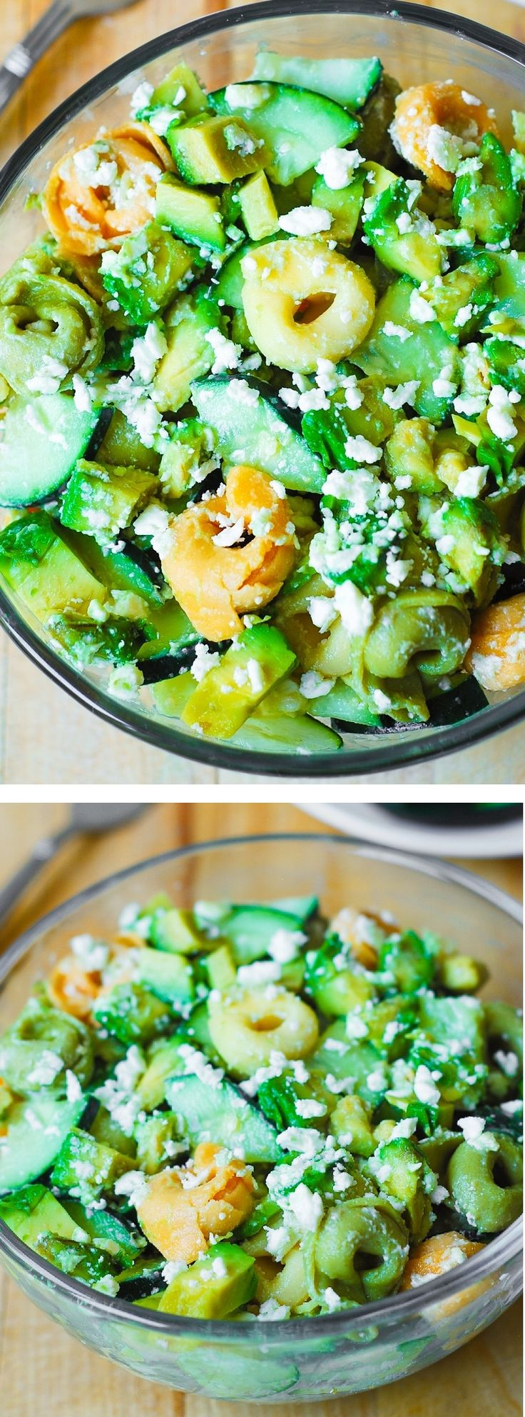 Greek Tortellini Salad with avocados and cucumbers in a creamy Feta Cheese Greek Salad Dressing