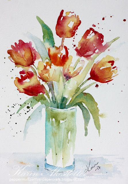 Sunday Watercolors: Loose Tulips For more info: I share my creative projects here: https://www.instagram.com/peppermintpatty42/ and on my blog: http://peppermintpattys-papercraft.blogspot.se and on pinterest; https://www.pinterest.se/peppermint42/my-watercolors/