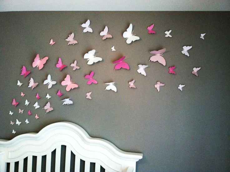 3d Butterfly Wall Art Home Decor Girls Room Pink And By Leeshay